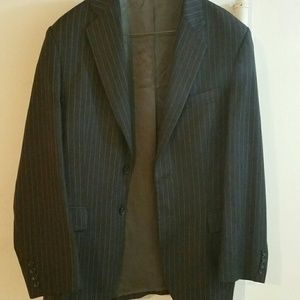 Other - Black Grey Express Design Studio Striped Wool Suit